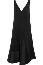 Satin-paneled crepe midi dress