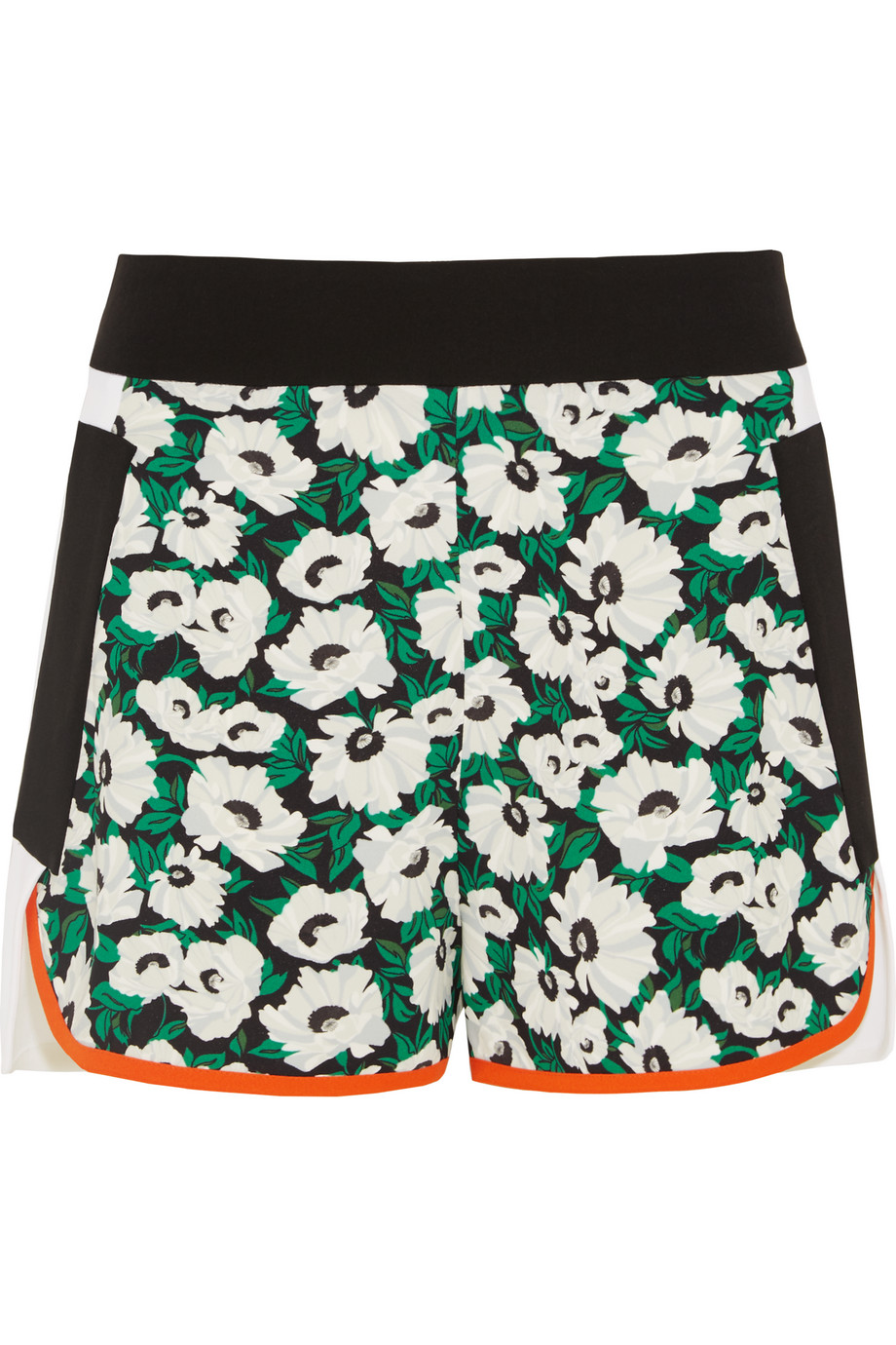 Stella Mccartney Kristele Floral-Print Crepe Shorts, Black/Green, Women's, Size: 36