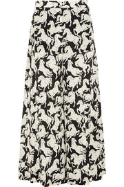 Darci printed silk crepe de chine wide-leg pants