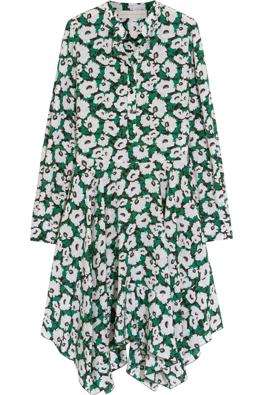 Stella Mccartney Rita Floral-Print Silk Crepe De Chine Dress, Green, Women's - Floral, Size: 34