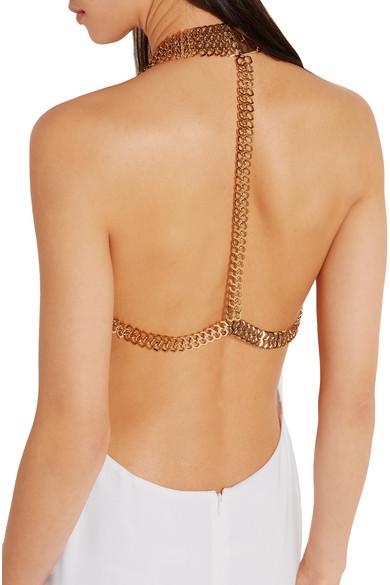 e863edfb83eb Stella McCartney. Chain-embellished stretch-crepe halterneck gown.  1