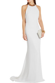 Stella McCartney Halterneck chain-embellished stretch-crepe gown