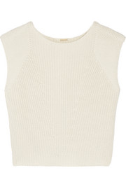 Ribbed-knit cotton, cashmere and silk-blend top