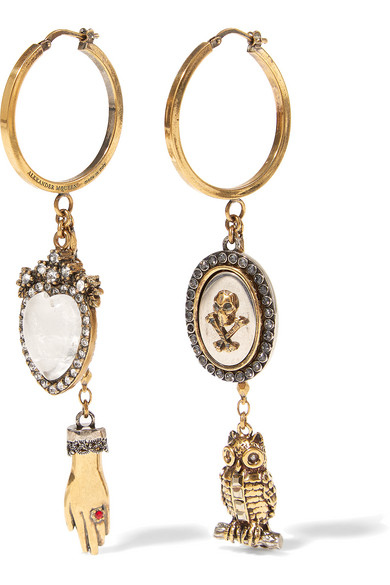 Alexander McQueen - Gold-tone Swarovski Crystal Earrings - one size