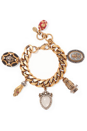 Gold-plated, crystal and faux pearl charm bracelet