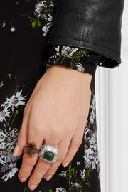 Alexander McQueen Silver and gold-tone crystal ring