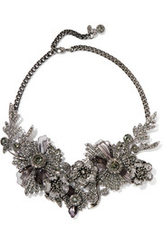 Silver-tone, crystal and Plexiglas® necklace