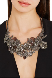 Alexander McQueen Silver-tone, crystal and Plexiglas® necklace