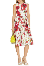 Floral-print cotton and silk-blend dress