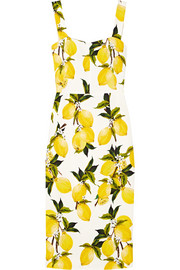 Printed stretch-cady midi dress