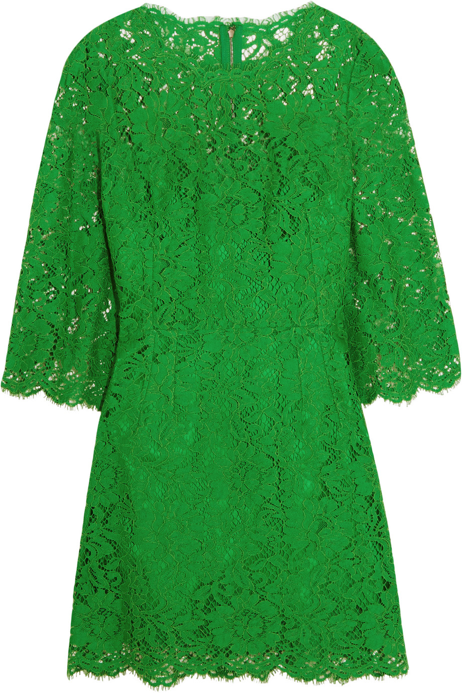 Dolce & Gabbana Floral-Lace Mini Dress, Green, Women's - Floral, Size: 46