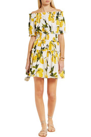 Dolce & Gabbana Smocked printed cotton-poplin mini dress