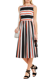 Dolce & Gabbana Cutout striped cotton-poplin dress