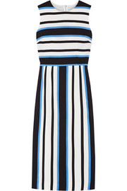 Striped stretch-silk crepe midi dress