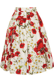 Floral-print cotton and silk-blend skirt