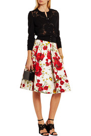 Dolce & Gabbana Floral-print cotton and silk-blend skirt