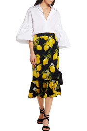 Dolce & Gabbana Fluted printed stretch-silk skirt
