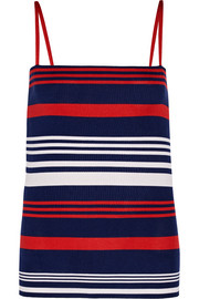 Striped ribbed stretch-silk camisole