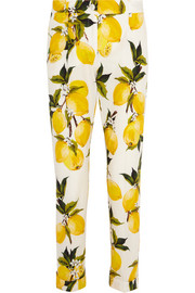 Printed cotton-poplin  straight-leg pants