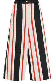 Cropped striped cotton-blend wide-leg pants