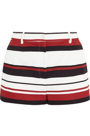 Striped cotton-drill shorts