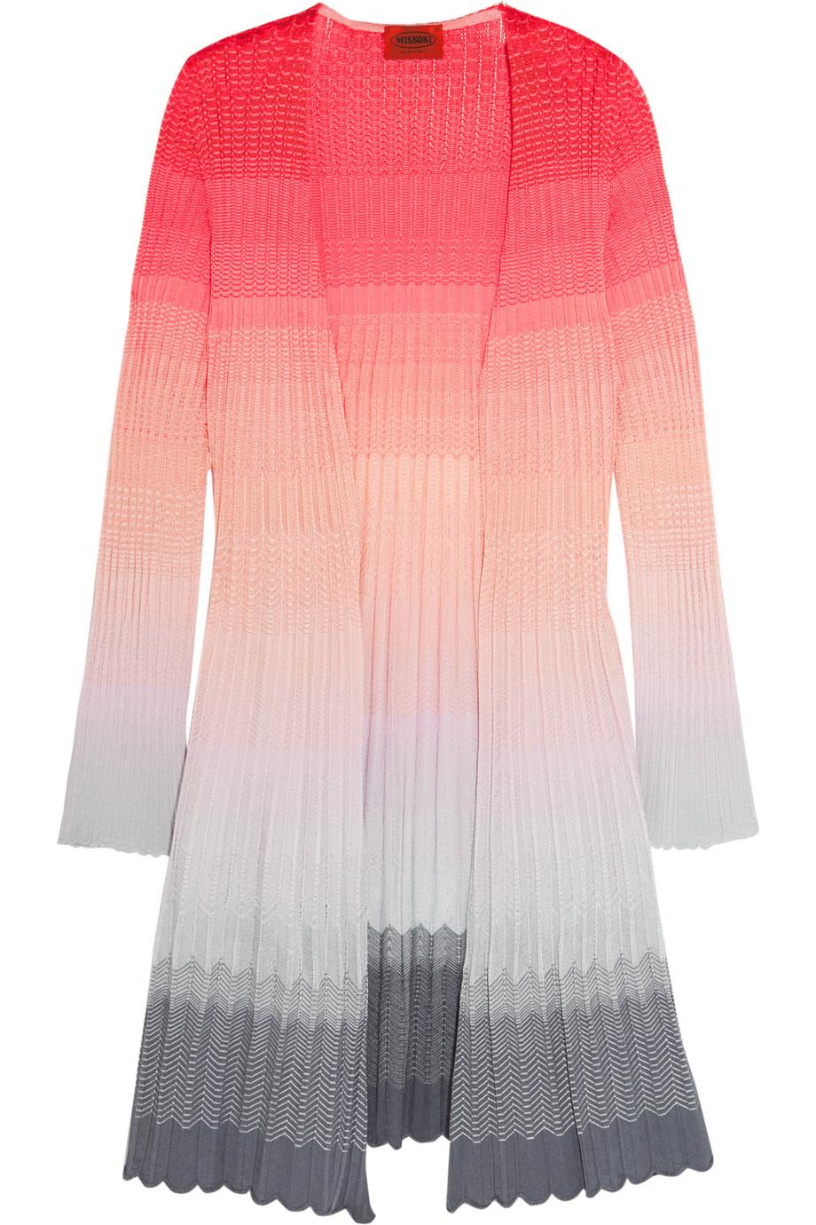 Missoni Ombré Crochet-Knit Cardigan, Pink/Gray, Women's, Size: 44