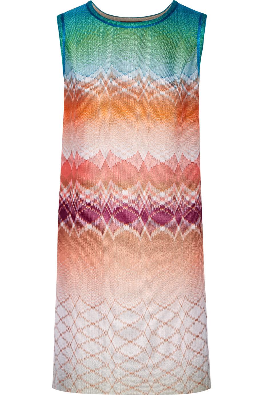 Missoni Crochet-Knit Mini Dress, Cream/Orange, Women's, Size: 40