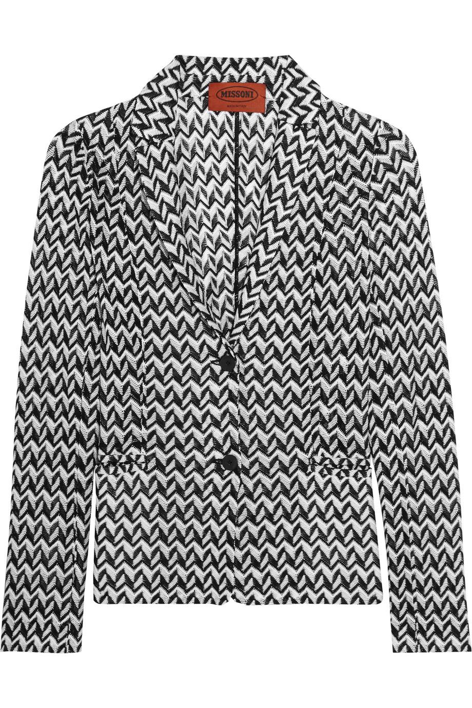 Missoni Crochet-Knit Blazer, Black/White, Women's, Size: 42