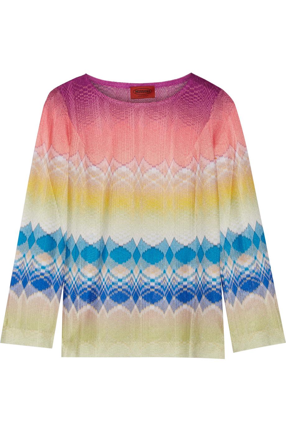 Missoni Crochet-Knit Top, Pink/Neutral, Women's, Size: 42