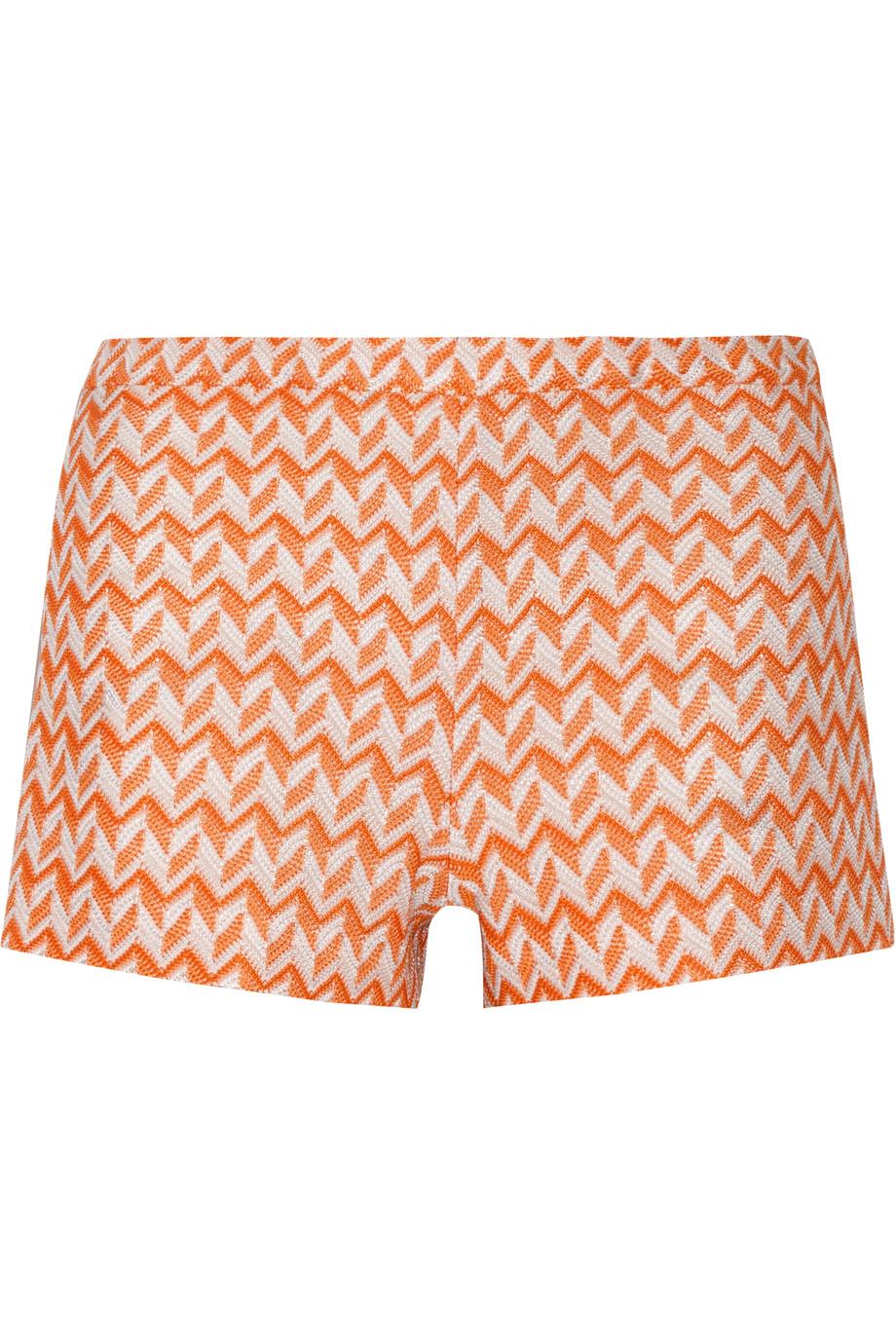 Missoni Crochet-Knit Shorts, Orange, Women's, Size: 36