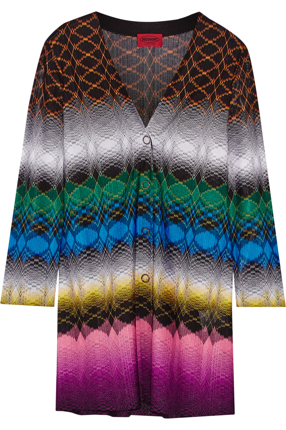 Missoni Crochet-Knit Cardigan, Black, Women's, Size: 42