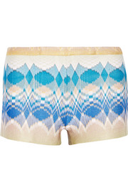 Metallic crochet-knit shorts