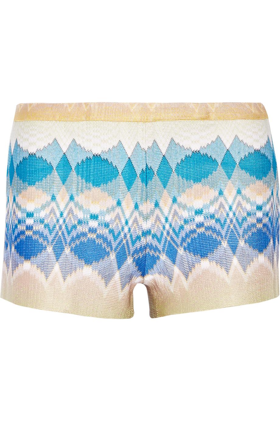 Missoni Metallic Crochet-Knit Shorts, Blue/Neutral, Women's, Size: 38