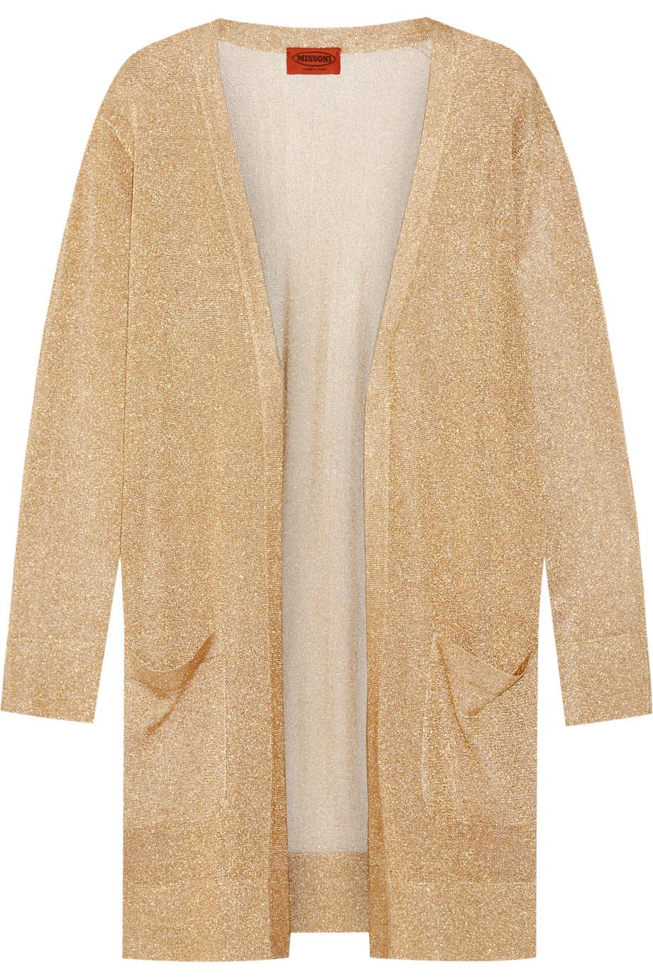 Missoni Metallic Crochet-Knit Cardigan, Gold/Metallic, Women's, Size: 40