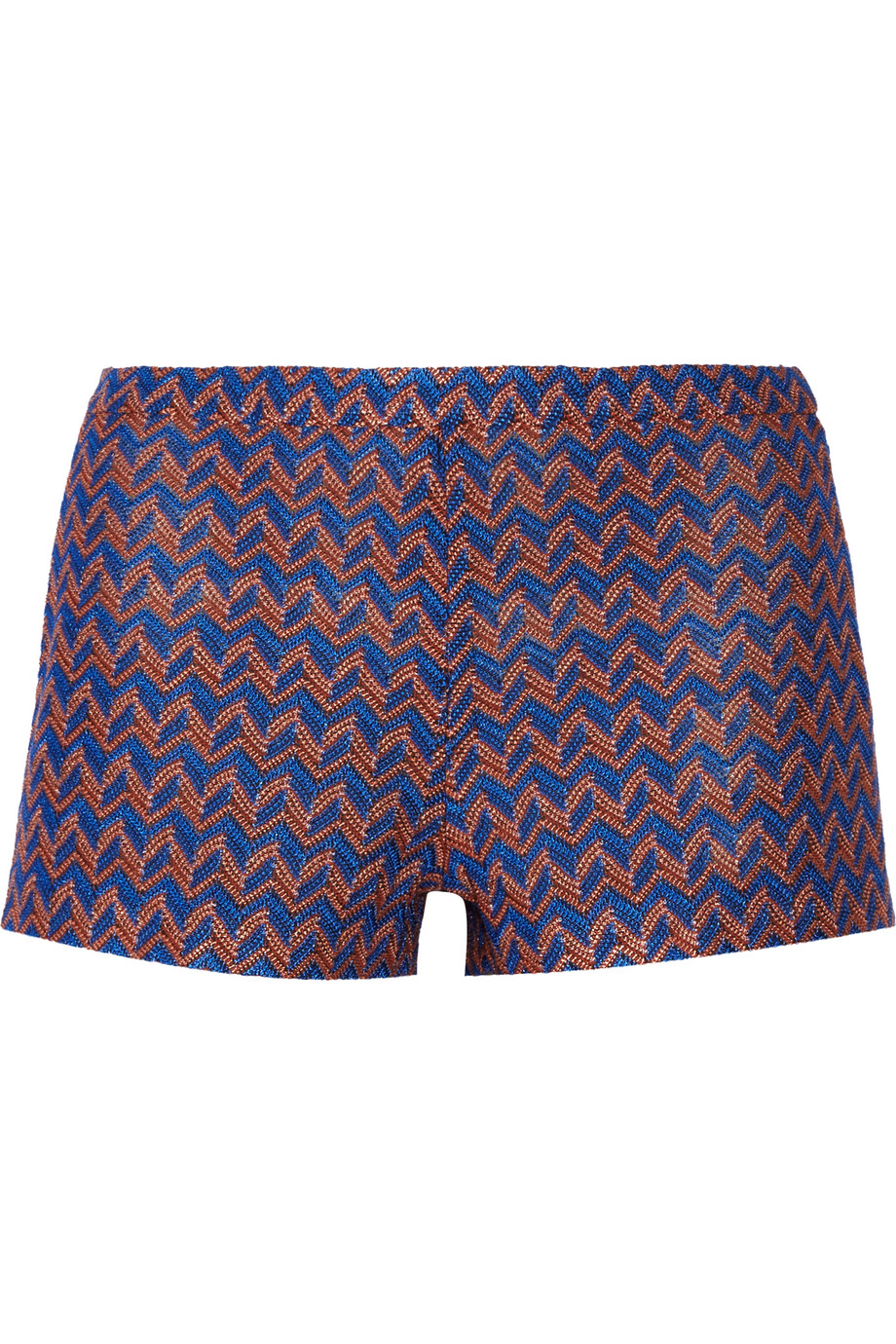 Missoni Crochet-Knit Shorts, Royal Blue, Women's, Size: 36