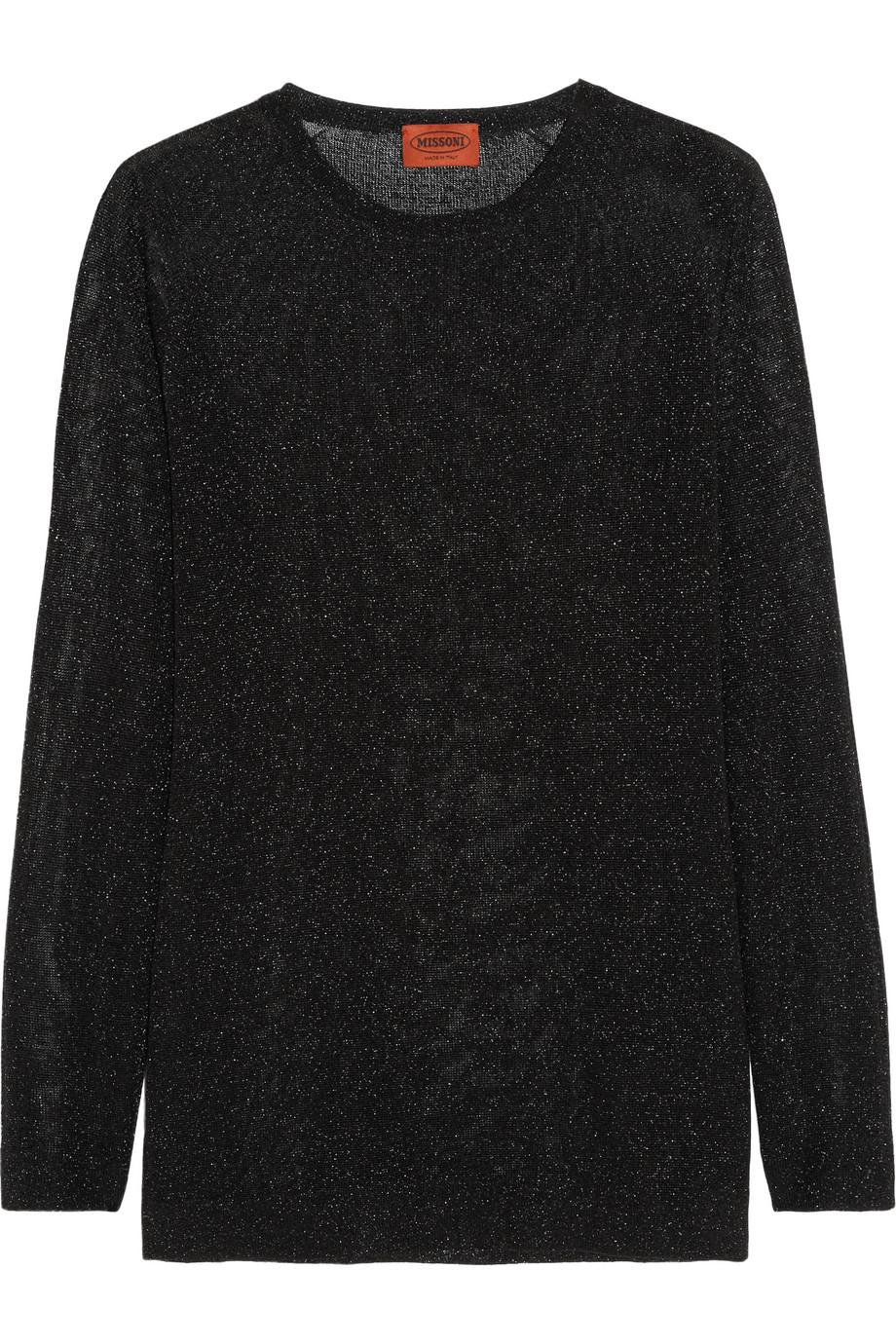 Missoni Metallic Crochet-Knit Top, Black, Women's, Size: 44