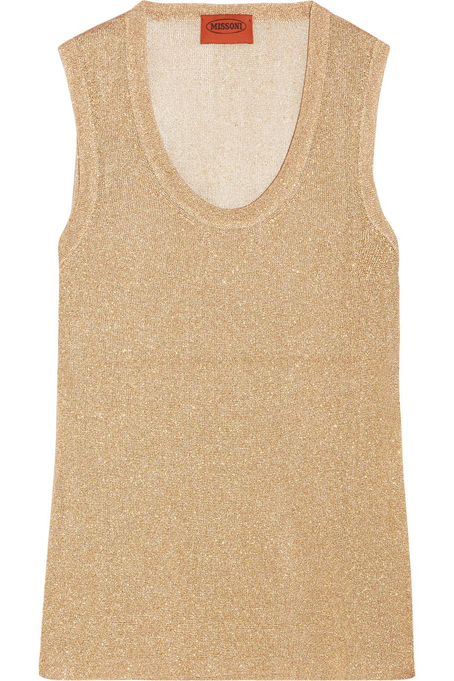 Missoni Metallic Crochet-Knit Top, Gold, Women's, Size: 42
