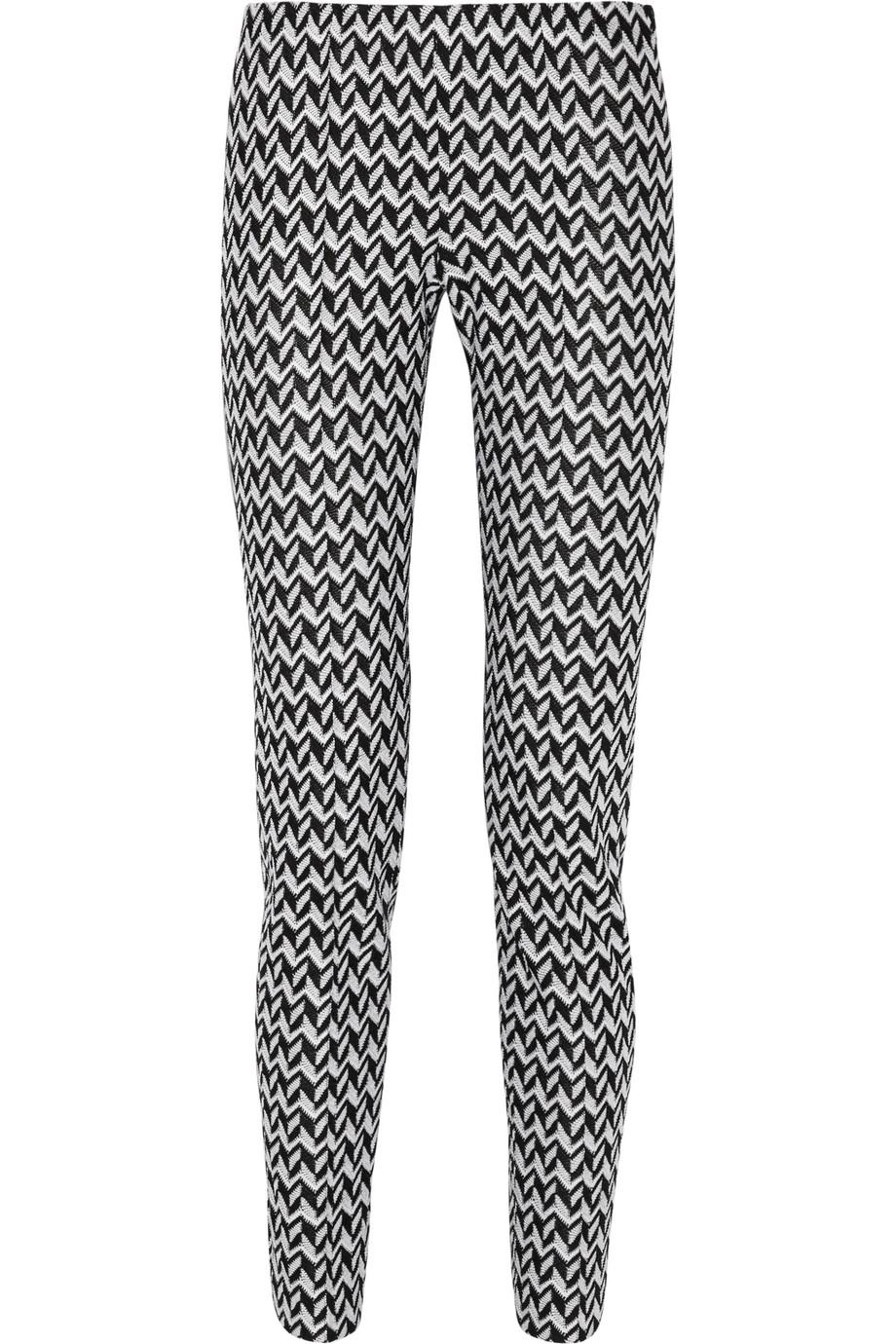Missoni Crochet-Knit Slim-Leg Pants, Black/White, Women's, Size: 36