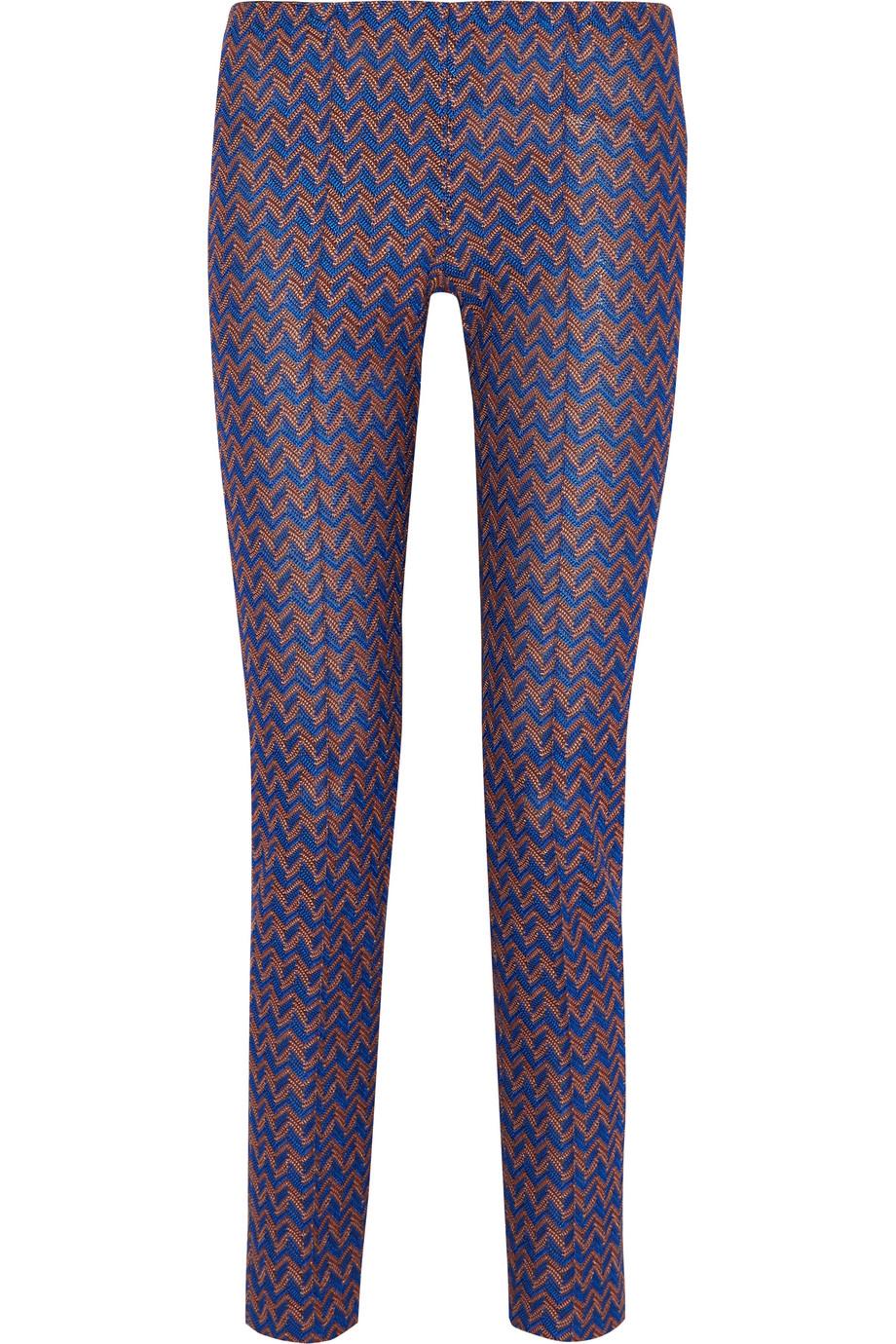 Missoni Crochet-Knit Slim-Leg Pants, Blue/Metallic, Women's, Size: 44