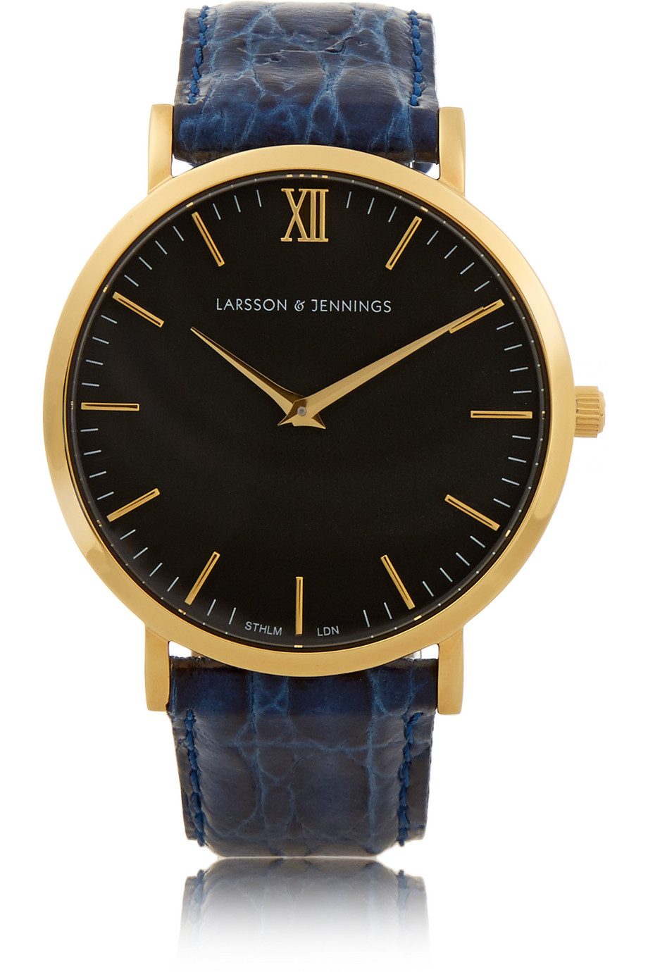 Croc-Effect Leather and Gold-Plated Watch, Larsson & Jennings, Navy/Black, Women's