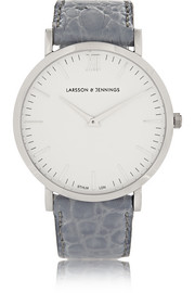 Croc-effect leather and silver-plated watch