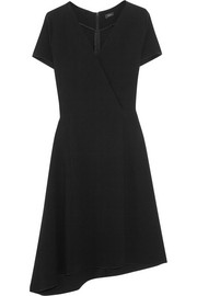 June asymmetric wrap-effect stretch-crepe dress