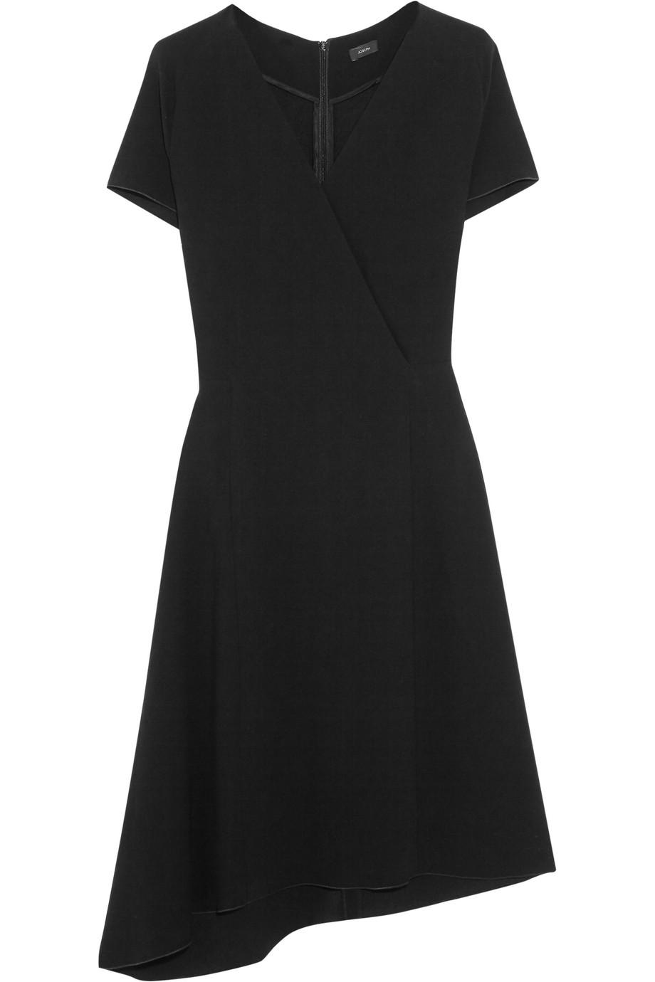 Joseph June Asymmetric Wrap-Effect Stretch-Crepe Dress, Black, Women's, Size: 36