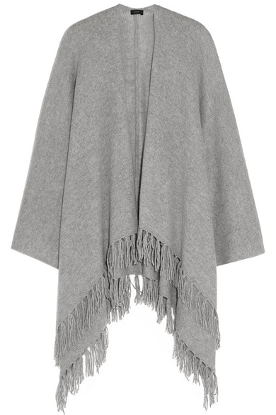 Joseph - Oversized Fringed Cashmere Wrap - Light gray