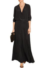 Hilde pleated washed-satin maxi skirt