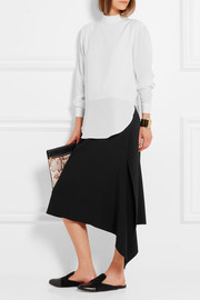 Ava asymmetric stretch-crepe skirt