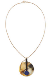 Marni Gold-plated horn and resin necklace