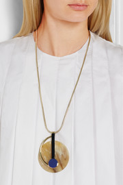 Gold-plated horn and resin necklace