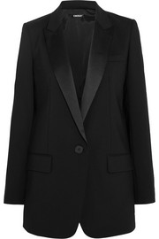 Satin-trimmed stretch-wool crepe tuxedo blazer