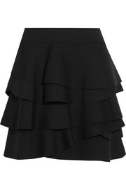 Ruffled stretch-jersey mini skirt
